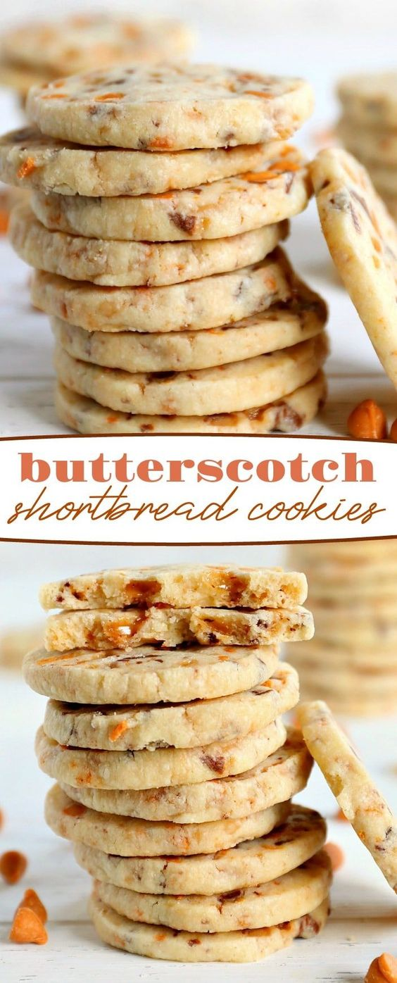 These melt in your mouth Butterscotch Shortbread Cookies are everything shortbread should be: buttery, crumbly lightly sweetened, and totally delicious. This batch makes a bunch so be prepared to share with friends and family! // Mom On Timeout #butterscotch #toffee #shortbread #cookies #baking #dessert #desserts #Christmas #holidays #sweets #cookie #recipe #recipes