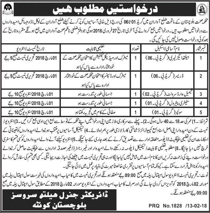 Health Department Govt of Balochistan in District Awaran Latest 14 feb 2018 Jobs
