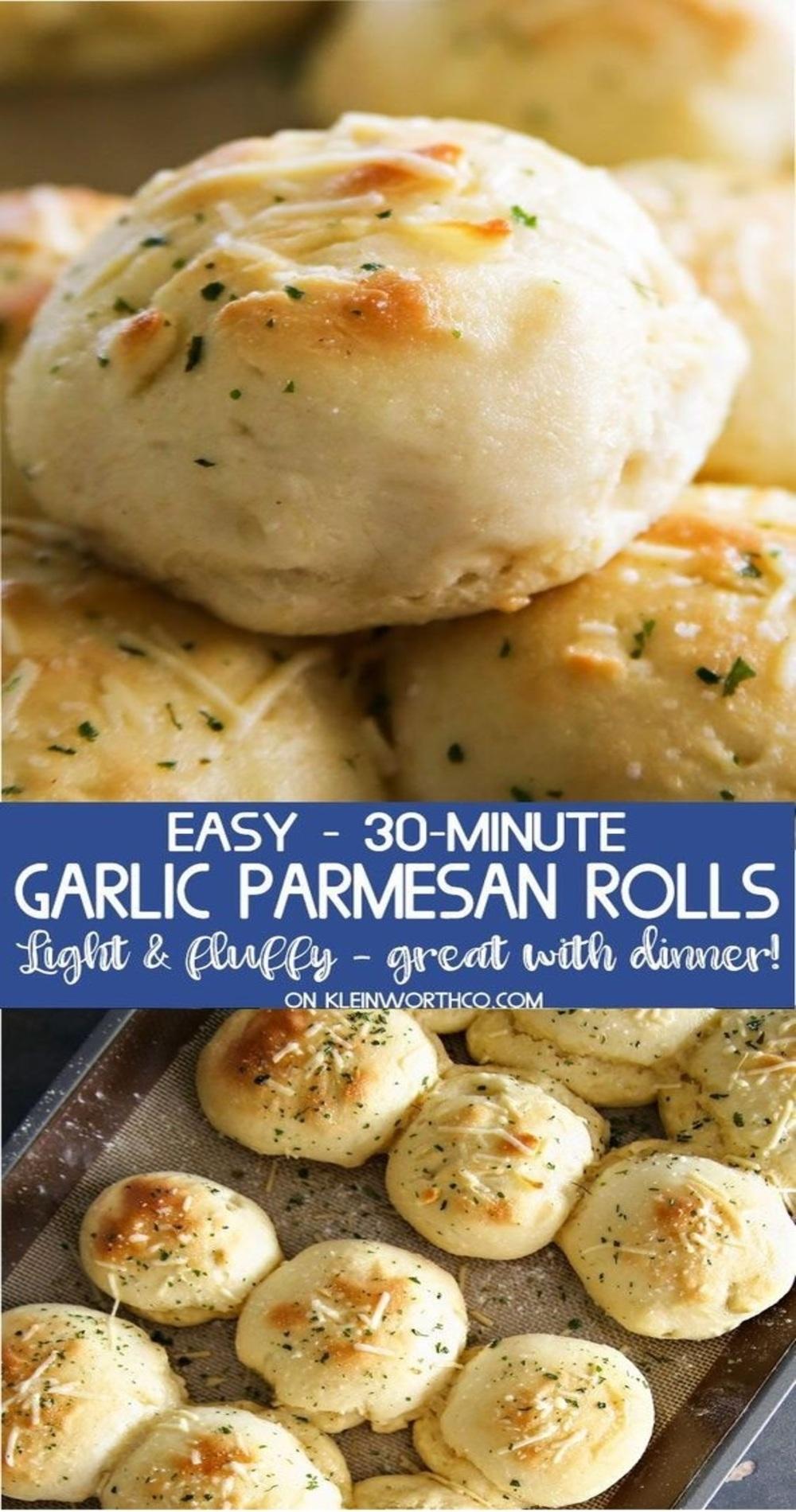 30-Minute Garlic Parmesan Dinner Rolls