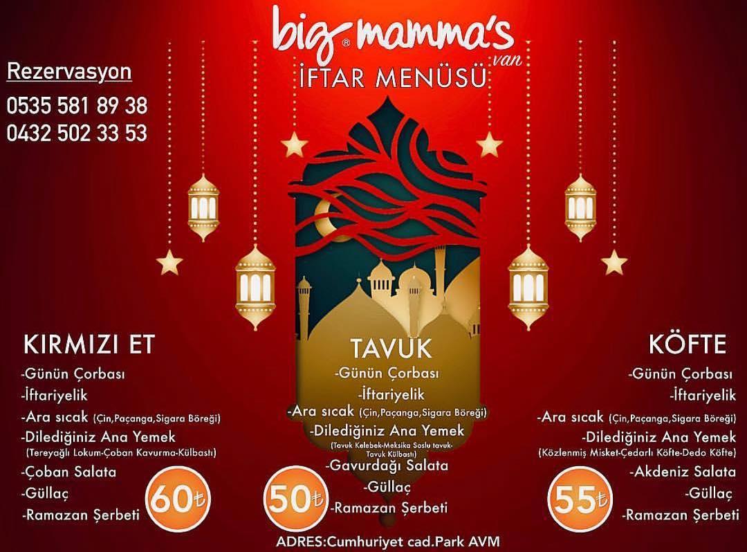 big mamma iftar menü fiyatları big mama's fiyat listesi van iftar menüsü van iftar mekanları