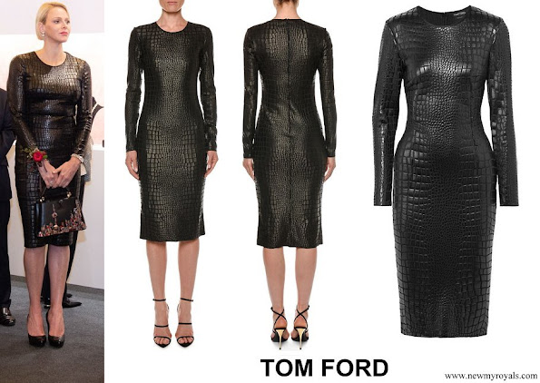Princess Charlene wore TOM FORD Long Sleeve Crocodile Print Sheath Dress