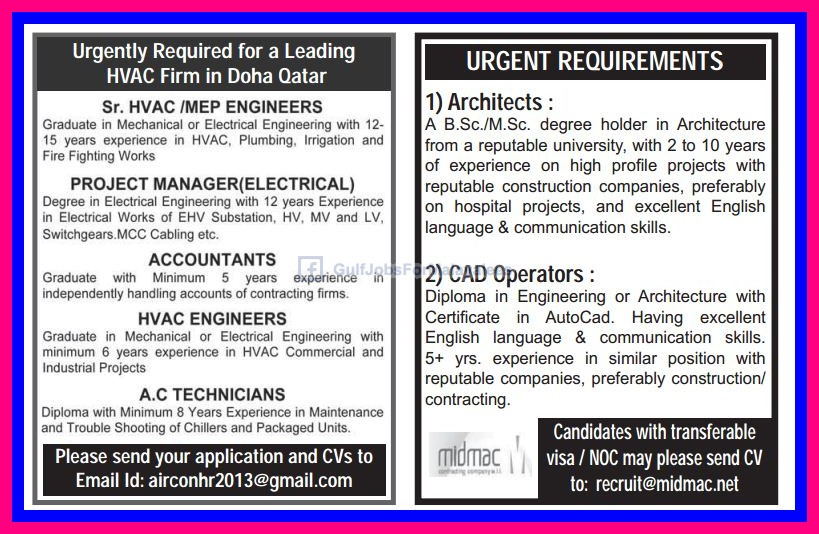 Urgently Required For An HVAC Firm In Doha Qatar