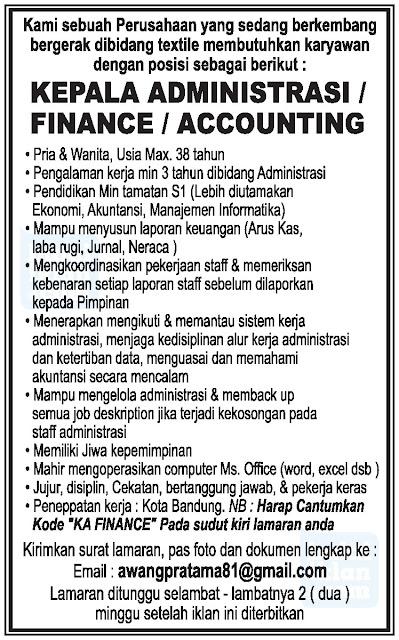 Loker Administarsi di Bandung