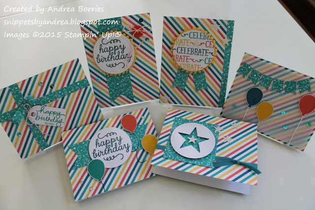 Six alternate card designs for the May 2015 Paper Pumpkin kit, Birthday Bundle.