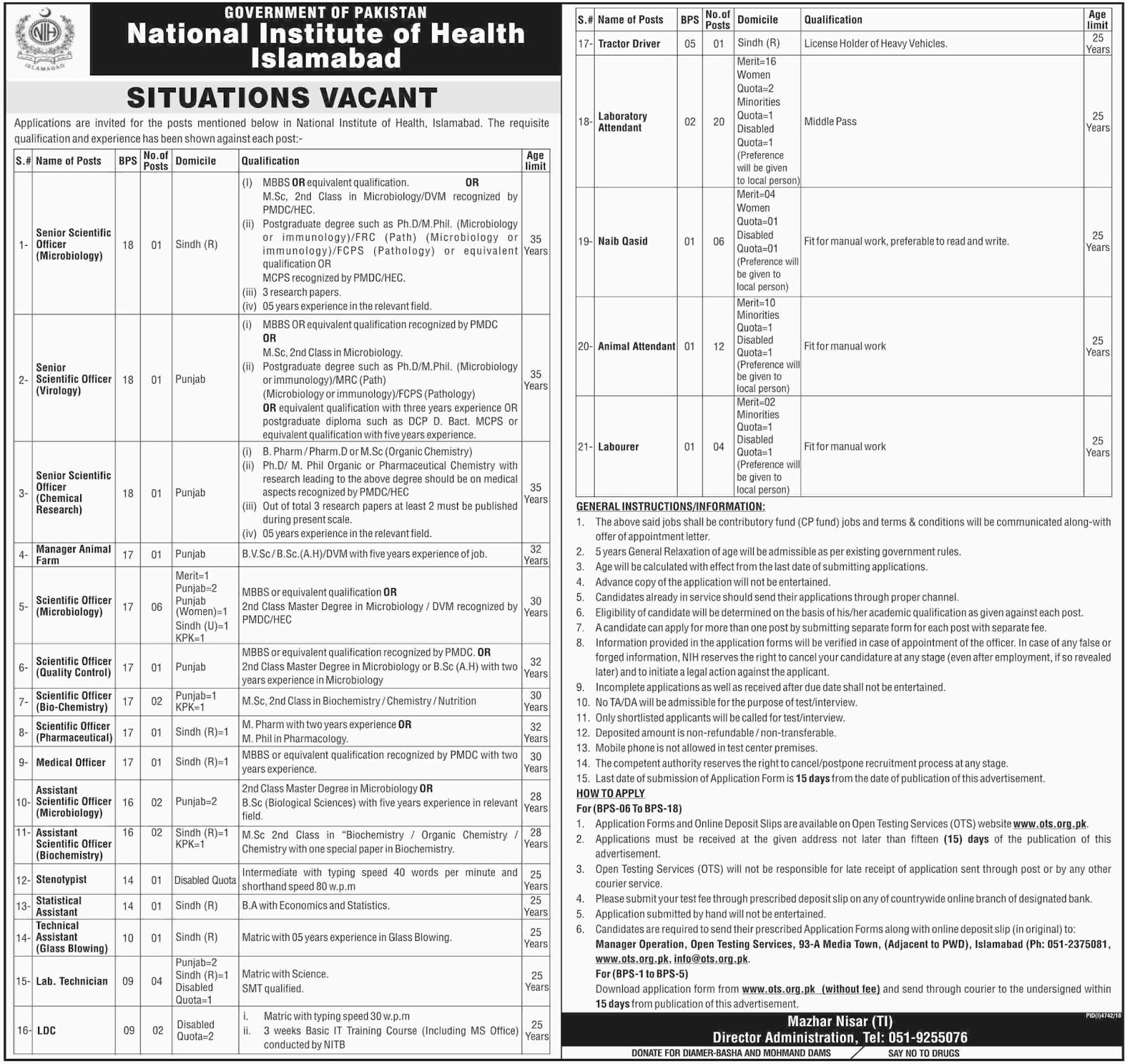 National Institute of Health Islamabad Jobs April 2019