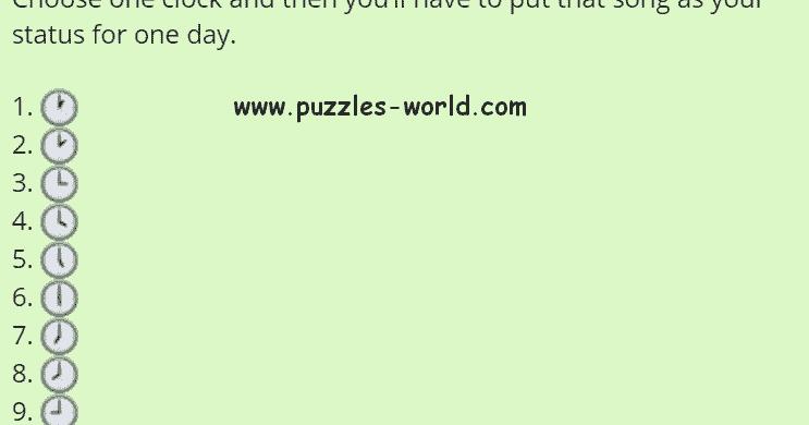 Choose one clock Whatsapp Status Game   Puzzles World