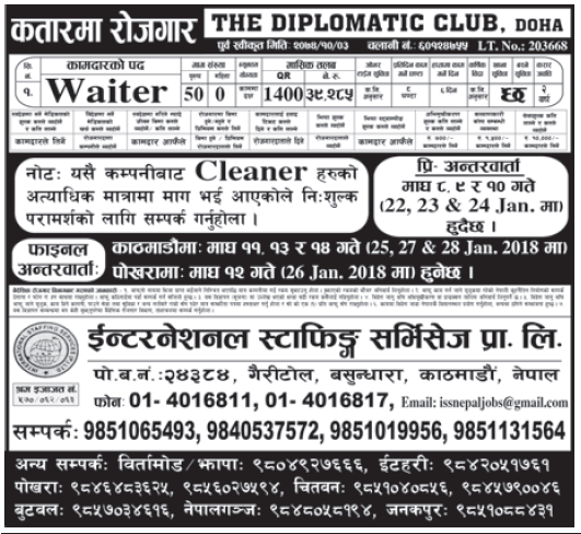 Jobs in Qatar for Nepali, Salary Rs 39,285