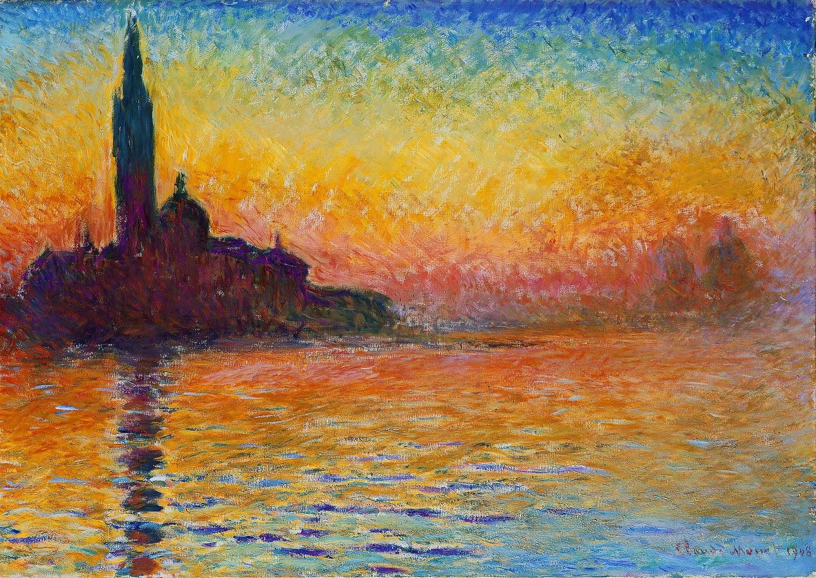 San Giorgio ao Entardecer - Pinturas de Monet Claude | O Pai do Impressionismo