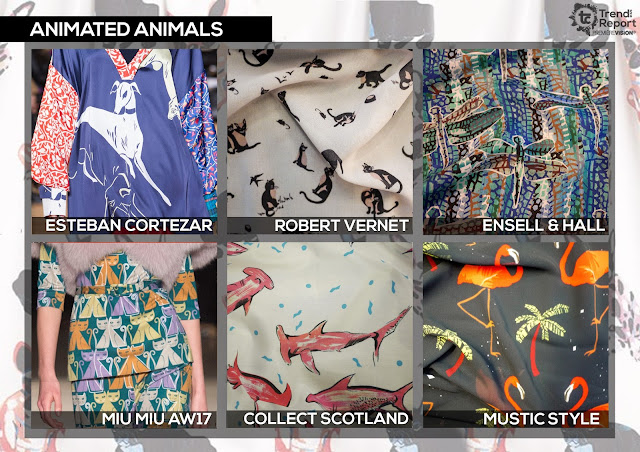 Textile Candy, Animated animals, animal pattern, animal print, conversational prints, Robert Vernet, Ensell and Hall, Mustic style, Miu Miu, Collect Scotland, Esteban Cortazar, Premiere vision, trend report, trend forecasting, Spring/Summer 2018, SS18