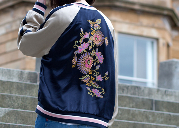 Floral embroidered bomber jacket