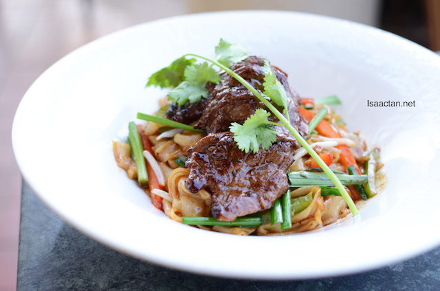 Pan Fried Tenderloin Beef served with Char Kway Teow - RM28
