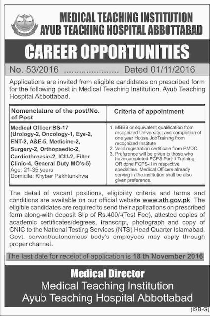 Doctors Jobs in Ayub Teaching Hospital