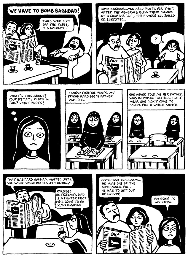 Read Chapter 11 - The F-14s, page 80, from Marjane Satrapi's Persepolis 1 - The Story of a Childhood