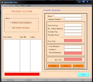 Payroll system thesis using vb6