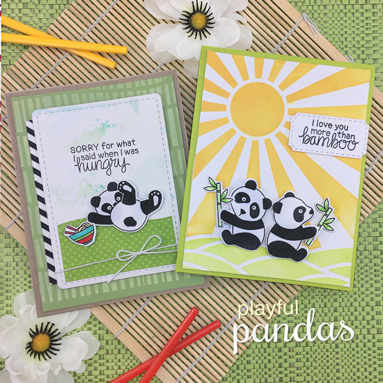 Panda Cards by Jennifer Jackson | Playful Pandas Stamp Set and Serene Stripes and Sunscape Stencils by Newton's Nook Designs #newtonsnook #handmade