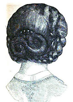Back comb in hair, 1862, from Peterson's Magazine.