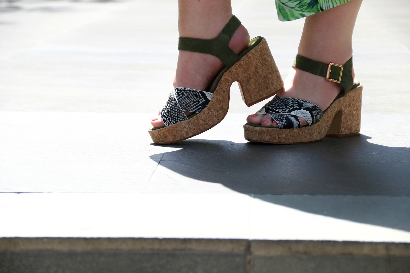 River Island Khaki Snake Strap Cork Block Heel Sandals on WhatLauraLoves in Bali