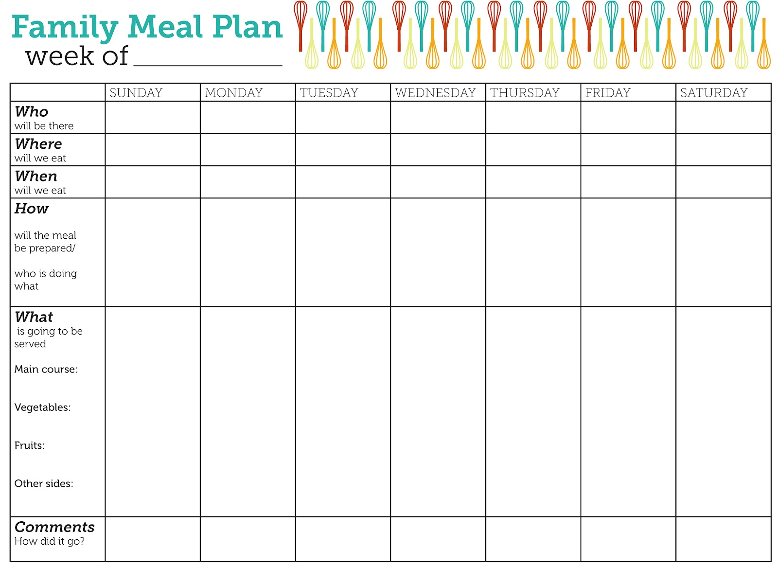 Design Lass Family Meal Plan Printable