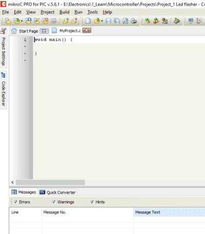 نافذة برنامج MikroC