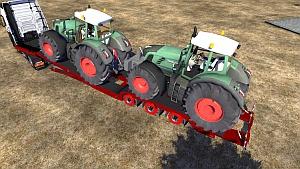 Trailer with 2 Fendt tractors