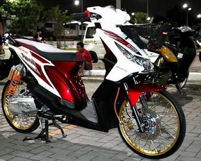 Modif Motor Beat FI Warna Putih Merah Thailook