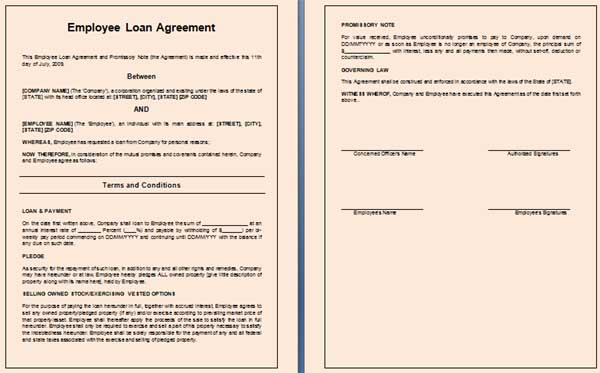 Doc564741 Free Loan Agreement Contract Personal Loan – Loan Contract Example