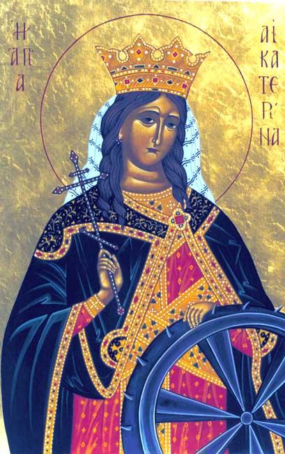 Αγία Αικατερίνη,θεωρείται προστάτις των μηχανικών και προστάτιδα των των παρθένων γυναικών και των φοιτητριών.