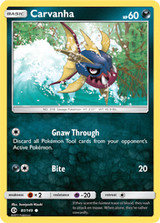 Carvanha Sun and Moon Pokemon Card