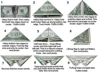Origami Instructions : make butterfly from a dollar bill