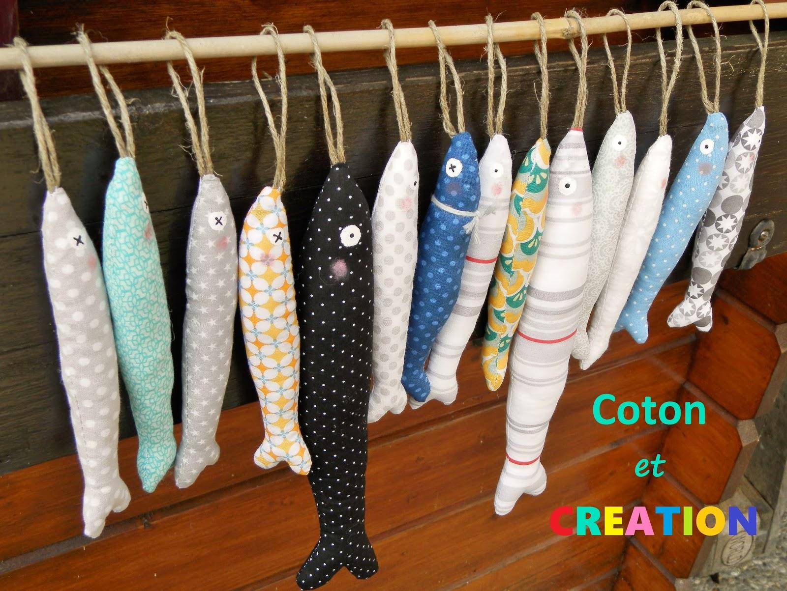 coton et cr ation du fil des aiguilles et des id es poissons sardines en tissu. Black Bedroom Furniture Sets. Home Design Ideas