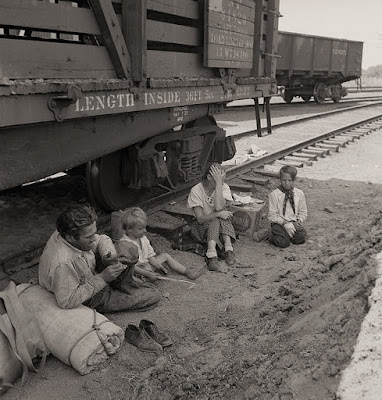 Climbing My Family Tree: Family Riding the Rails in the Great Depression. Photo in the Public Domain.