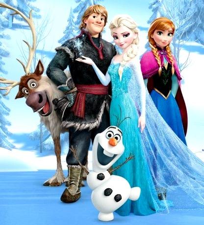 Imagen de Frozen posando en la nieve a colores para niños