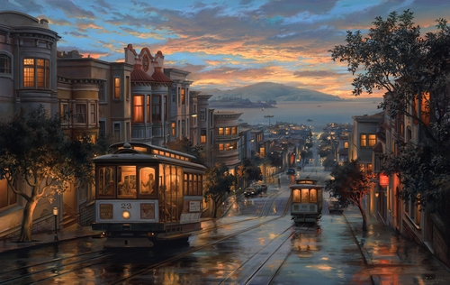 05-Cable-Car-Heaven-Evgeny-Lushpin-Scenes-of-Realistic-Night-Time-Paintings-www-designstack-co