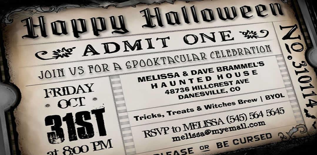 brown Happy Halloween Spooky Party Ticket Invitation