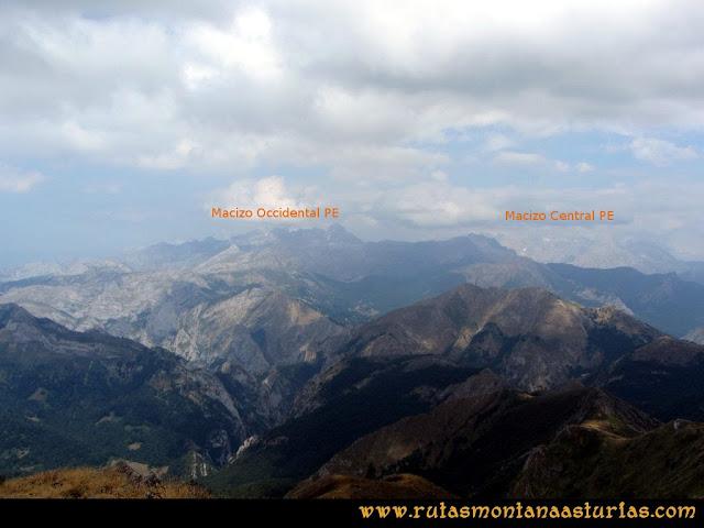 Ruta Ventaniella, Ten y Pileñes: Desde el Pileñes, macizos central y occidental de Picos de Europa