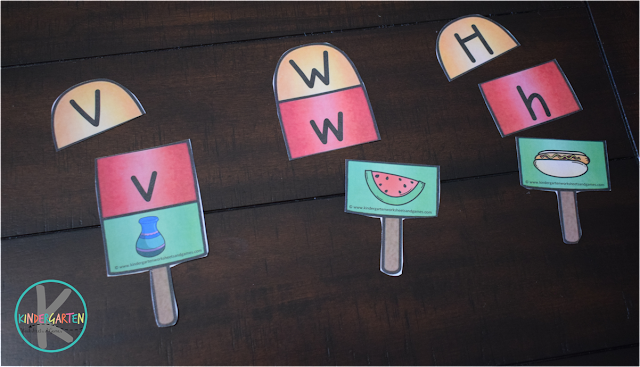 Alphabet Activity letter v is for vase, letter w is for watermelon and letter h is for hot dog