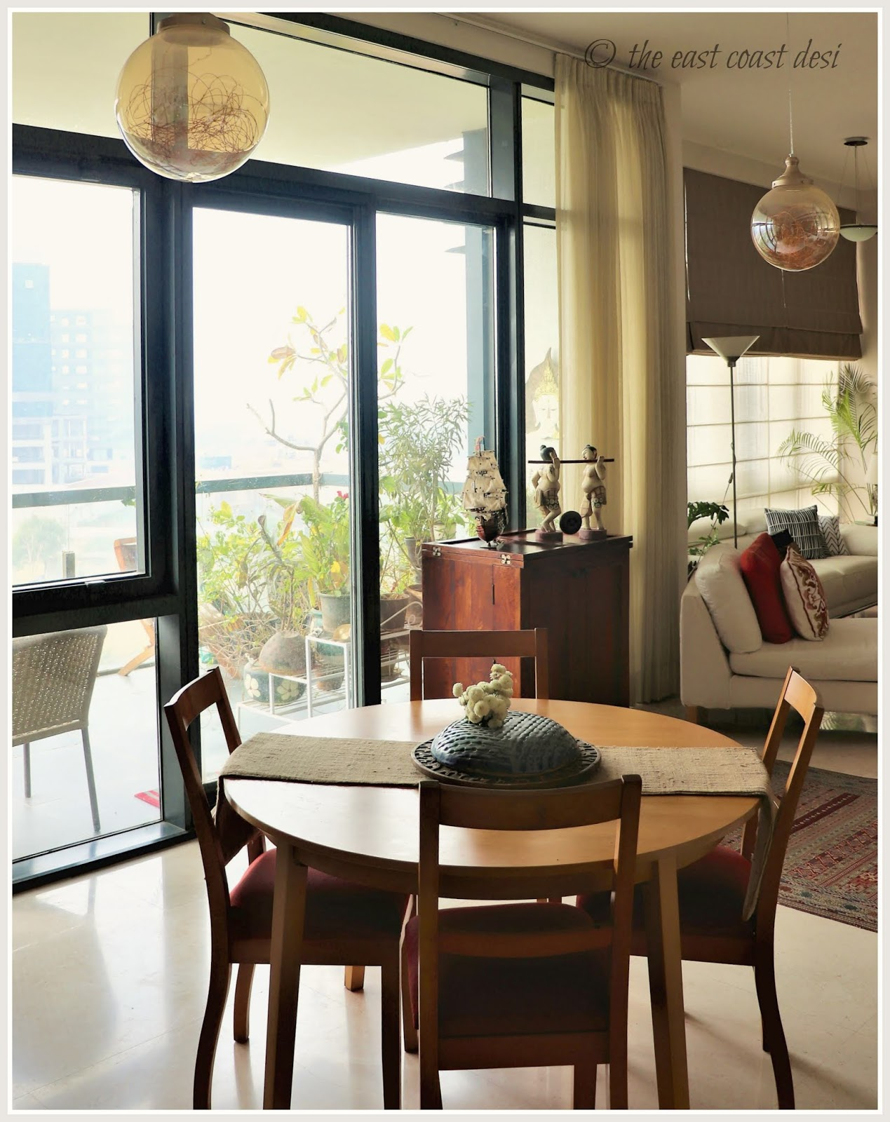 A practical dining set works in tandem with the rest of the clean line vibe evident in the home clearly comfort is everything is a norm that takes charge