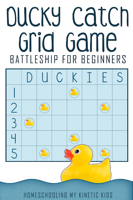 Rubber Duck Grid Game // Homeschooling My Kinetic Kids // Battleship for Beginners // Coordinates for Kindergartners // free printable for math class // 10 Little Rubber Ducks by Eric Carle