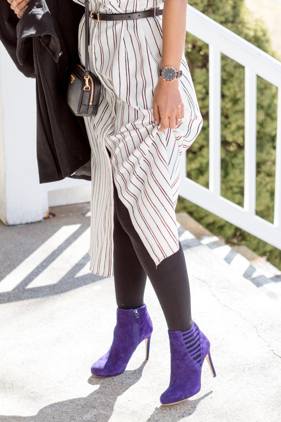shirtdress, pinstripe, silky dress, midi, booties, via spiga, cluse watch, prada camera bag, black trench, belted dress