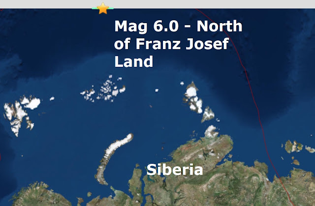 Earthquakes in strange places...Mag 6.0 - North of Franz Josef in the Arctic Circle Naamloos