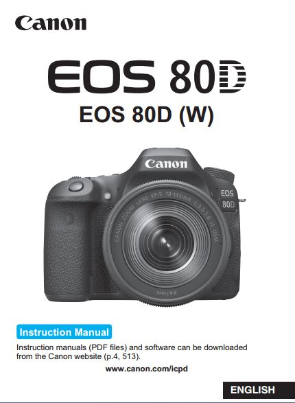 Canon EOS 80D PDF User Guide / Manual Downloads