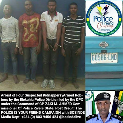 Police smash kidnapping gang, rescue victim, Arrest Four suspects in Rivers State
