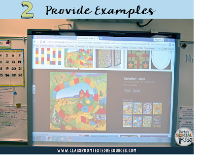 Game board examples for student created math games