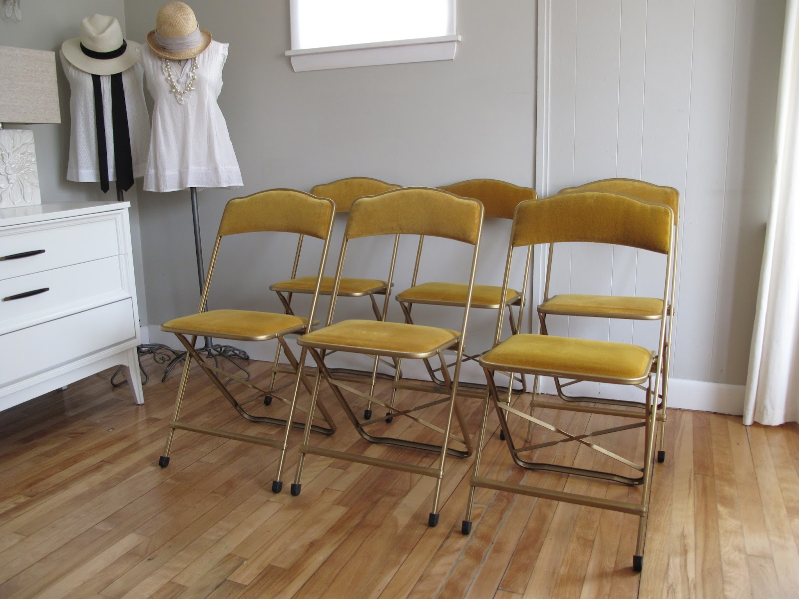 blue lamb furnishings 6 Gold Velvet Folding Chairs Table SOLD