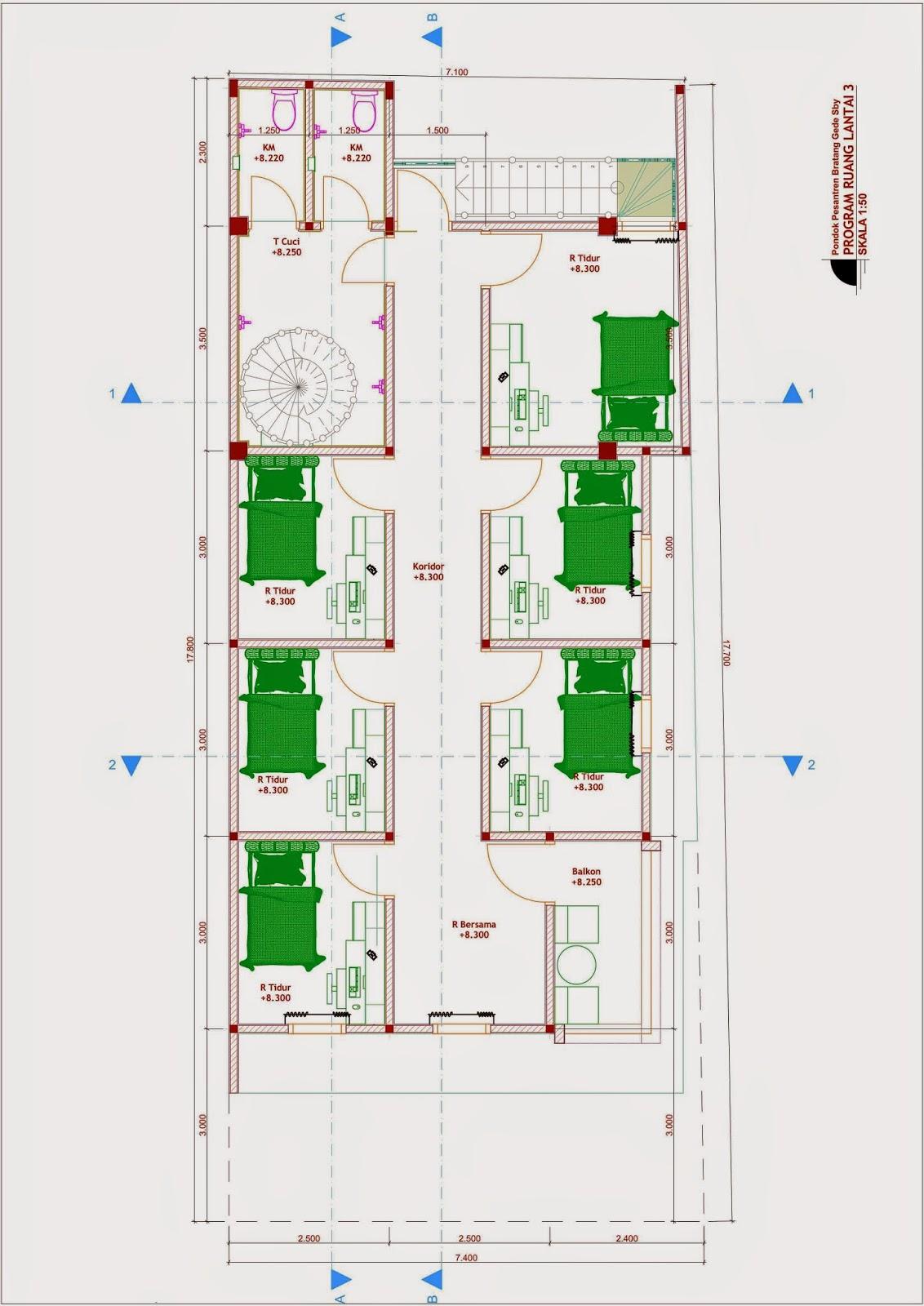 Desain Rumah Minimalis Jadi Pesantren - Denah Lt 3