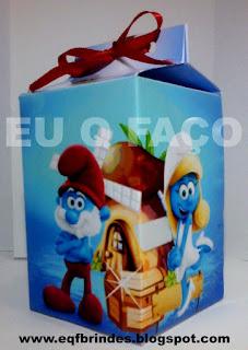 caixinha milk smurfs, milk smurfs, lembrancinha smurfs, brinde smurfs, tema smurfs, festa smurfs, os smurfs,smurfs
