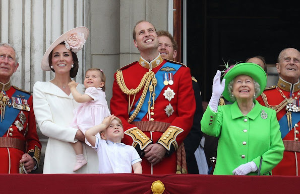 Queen Elizabeth, Prince Philip, Duke of Edinburgh, Prince Charles, Camilla, Duchess of Cornwall, Catherine, Duchess of Cambridge, Prince William, Prince George, Princess Charlotte, Prince Harry, Anne, Princess Royal,