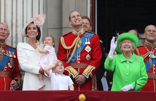 Queen Elizabeth, Prince Philip, Duke of Edinburgh, Prince Charles, Camilla, Duchess of Cornwall, Catherine, Duchess of Cambridge, Prince William, Prince George, Princess Charlotte, Prince Harry, Anne, Princess Royal,