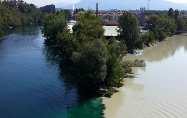 The confluence of the River Rhone and Arve River in Geneva, Switzerland