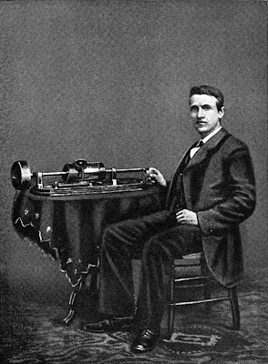 Thomas Edison and his first Phonograph